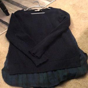 Loft blue sweater with plaid